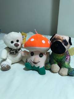 Stuffed toys - teddy bear, mushroom, dragon pug