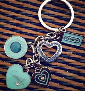 Coach Keychain Turquoise heart ❤️