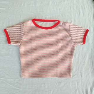 Red x White Stripes Crop Top