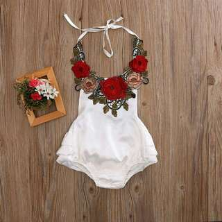 White Backless Romper