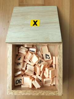 Montessori materials - Multiplication Charts with number tiles in wooden box
