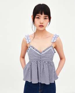 Women's 18 summer new small clear sweet ear thin straps striped sling drain two shoulders