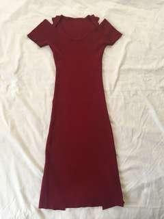 Red Knitted Back Slit Dress