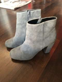 Dune London Grey Suede Booties