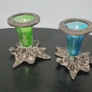 Antique Silver Candle Holders