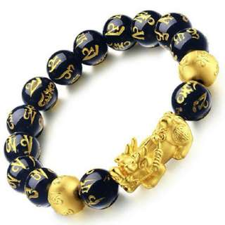 Gold Plated Single Pixiu Onyx Mantra Beads Bracelet