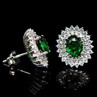 Earrings / Subang / Anting Green Plated White Gold Cubic Zircon