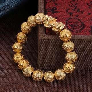 Gold Plate Single Pixiu Gold Plated Beads Bracelet