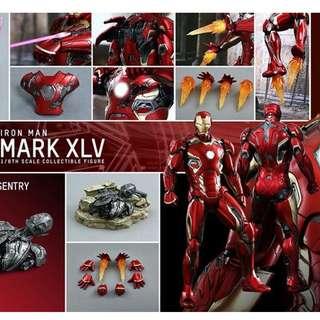 收  全新啡盒未開封 1/6 1比6 Hottoys Ironman Mark 45 XLV 仇者聯盟