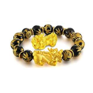 Gold Plated Double Pixiu Onyx Dragon Beads Bracelet