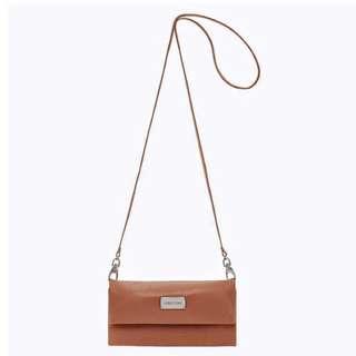 Oroton Clutch Wristlet Brown Leather Wallet