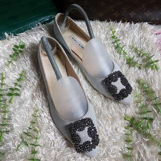 Authentic Manolo Blahnik Hangisi In Silver Shining Shimmery Ballet Flats Size 38