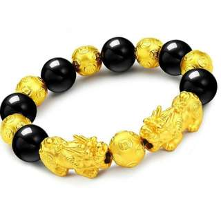 Gold Plate Double Pixiu Onyx Beads Bracelet
