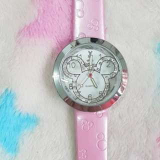 Hong Kong Disney pinky crystal lady girl watch
