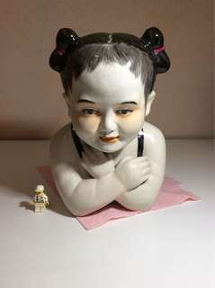 Antique porcelain Pillow Headrest Girl Figure Figurine
