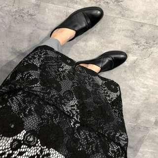 🚚 VM 2018春夏 唯美提花黑色 內搭外穿 長袖黑色鏤空蕾絲連身裙