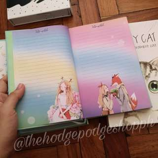 Beautiful Girl with Cat Hardbound Notebook with Box and Combination Lock