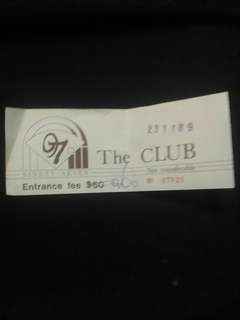 包郵 1989年 CLUB 97 DISCO 入場券