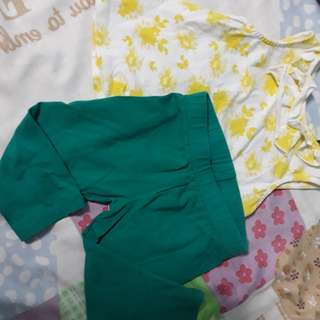 Poney yellow dress with green leggins