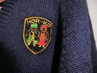 深藍 混羊毛 針織外套