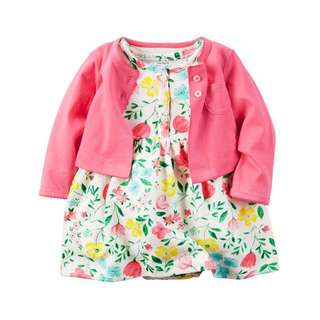 Brand New Carters Romper Dress with Cardigan