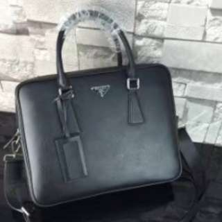 Prada Men's Briefcase Leather Black Bag