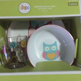 Circo Owl Bird Plate/Small Bowl/Tumbler 3 Pcs