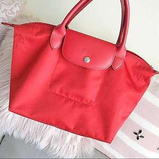 Authentic Longchamp red two way bag M size