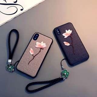 簡約系列 刺繡花兩色全包Iphone Case❤️