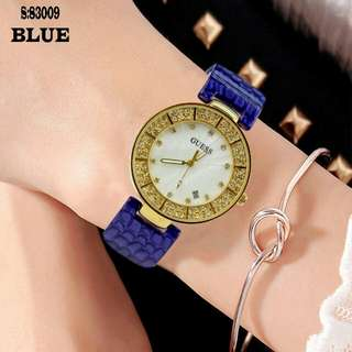 New...!!! #83009 #Guess Watch Bahan Mika Kualitas Semi Premium Diameter:3,5cm  Free Box Polos  Warna: ~Blue ~Cream ~Coffee ~Red ~Black.