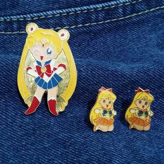 SET: Sailormoon Brooch and Sailor V Earrings