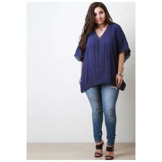 Embroidered Lace Combined PLUS SIZE Top