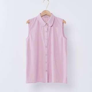 🚚 Mercci22 小圓立領背心襯衫