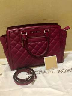 Michael Kors Selma Large Quilted Top Zip Satchel
