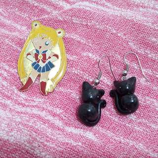 SET: Sailormoon Brooch and Luna inspired earrings