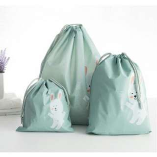 Bag in Bag Tas Serut Organizer Drawstring Bag Waterproof 3PCS - Baby Blue