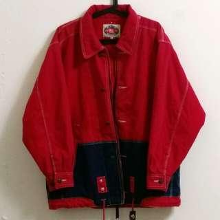古著 大紅色拼接舖棉外套