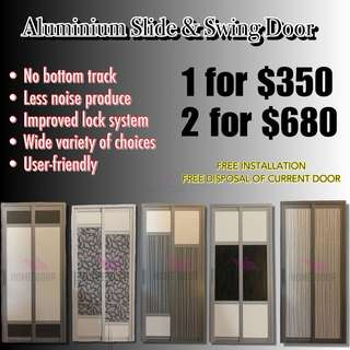Aluminium Slide & Swing bathroom door for HDB/BTO