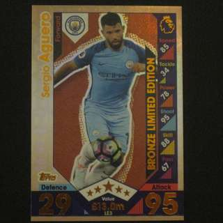16/17 Match Attax BRONZE Limited Edition - Sergio AGUERO #Manchester City 曼城