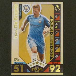 16/17 Match Attax Extra GOLD Limited Edition - Kevin DE BRUYNE #Manchester City 曼城
