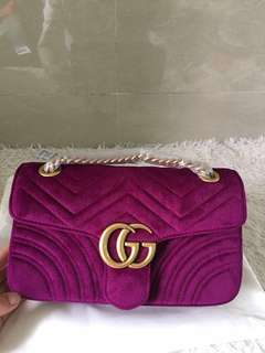 Gucci marmont flap bag small suede purple red