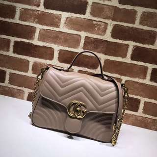 Gucci marmont top handle handbag in nude leather