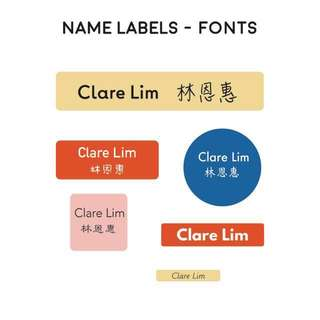Personalised /Customised Name Stickers - Font Reference
