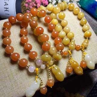 黃玉金珠子手鍊 特色 可愛 黃色或橙色可選