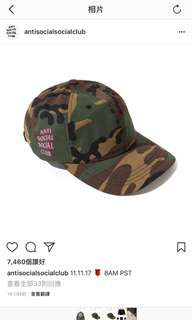 Anti social social club 迷彩帽