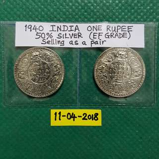 1940 INDIA ONE RUPEE.   50% SILVER CONTENT (EF GRADE).    Selling as a pair.