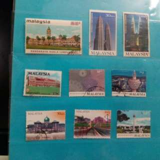 Set of 9 Malaysia stamps, 1972/2001
