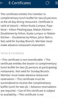 Lunch buffet for 2 person at Hilton Hotel