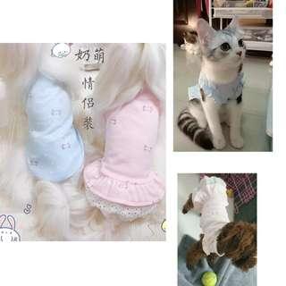 🚚 【預購-荷葉袖下單區】奶萌純棉情侶裝 寵物狗狗衣服春夏貴賓泰迪犬比熊猫咪服裝裙子