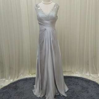 SILVER GREY evening gown dinner dress maxi prom (about L)